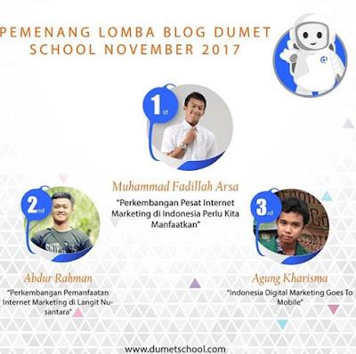 Juara 3 Lomba Blog Dumet School