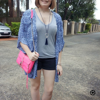 awayfromblue instagram | mum style monochrome shorts and tee outfit with colourful accessories neon bag navy kimono