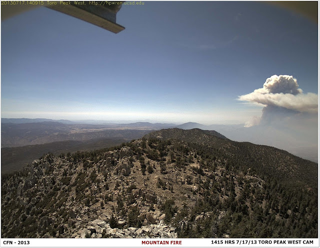 MOUNTAIN FIRE FROM TORO PEAK WEBCAM  7-17-13