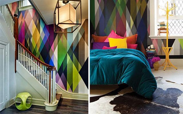Hestia dise o geometr as decorar con triangulos for Gama de colores vivos
