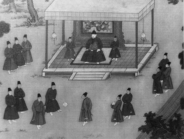 The Yongle Emperor observing court eunuchs playing cuju