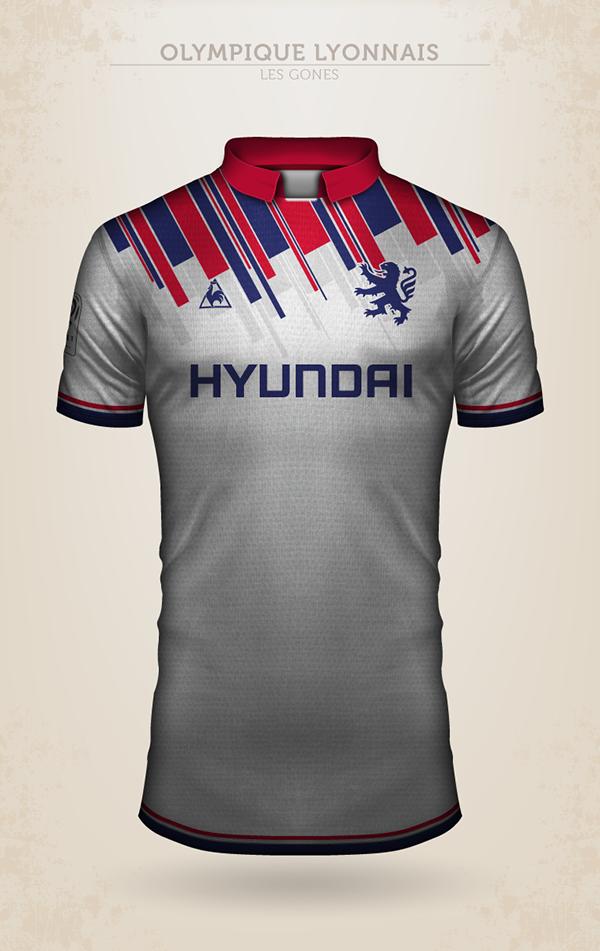 Projet de design du maillot de l'Olympique Lyonnais avec Le Coq Sportif