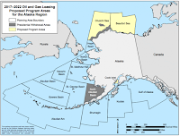 This map shows the Bureau of Ocean Energy Management's outer continental shelf oil and gas leasing areas, with the Chukchi and Beaufort seas highlighted. (Credit: BOEM) Click to Enlarge.