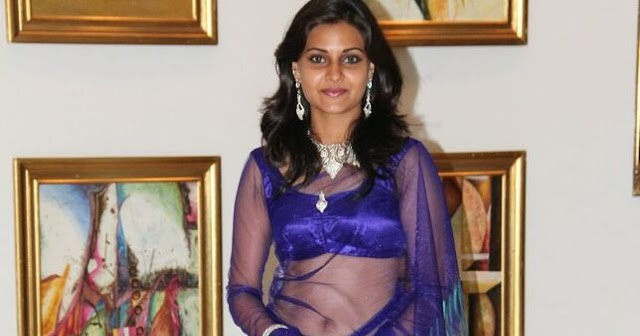 Manumika Hot Navel Show Photos In Blue Transparent Saree