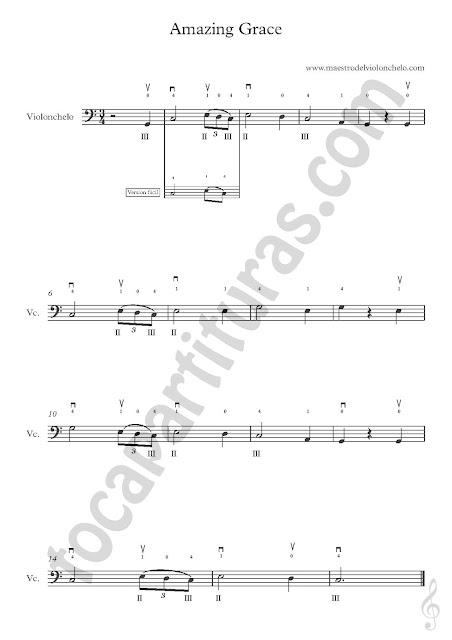 5 Otra versión y Partitura de Violonchelo de Amazing Grace en Clave de Fa (más partituras  aquí)