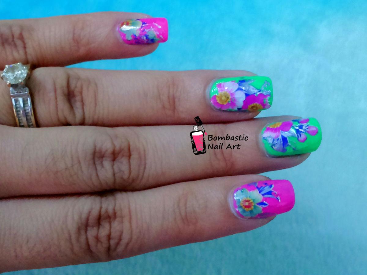 Flower nail art with printed transfer foils bombastic nail art - Foil nail art ...