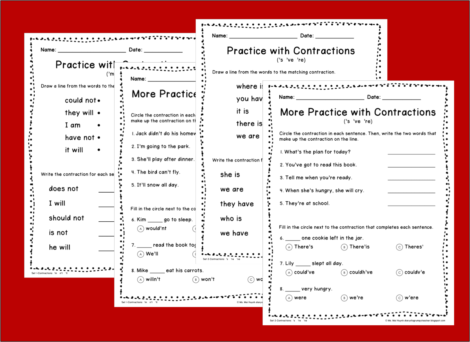 Contraction Worksheet For Second Grade