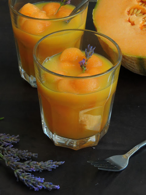Melon Balls in Lavender Orange Syrup