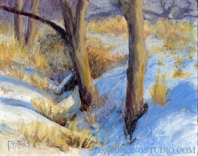 art painting landscape nature winter tree snow