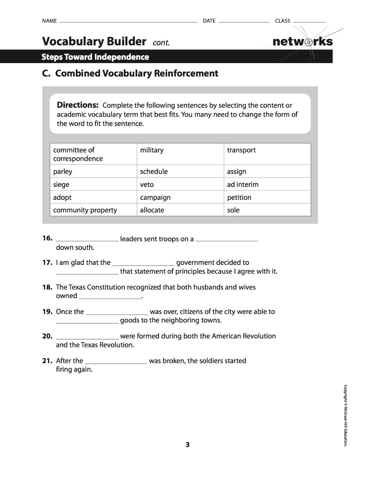 Ehms Texas History Chapter 10 Vocabulary And Vocabulary Builder Worksheet Assigned