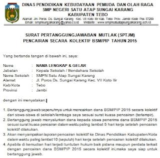 Contoh Surat Pertanggungjawaban Mutlak Sptjm Untuk Pencairan Dana