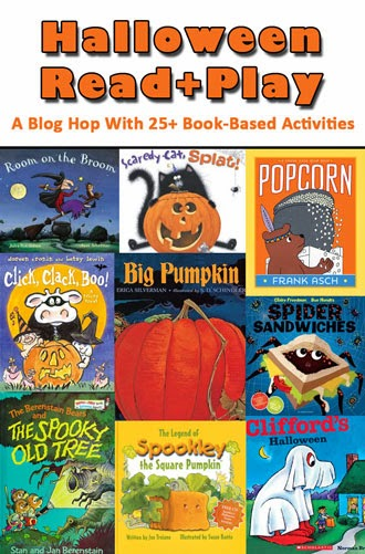 Collage of books used for Halloween Read and Play book extension series