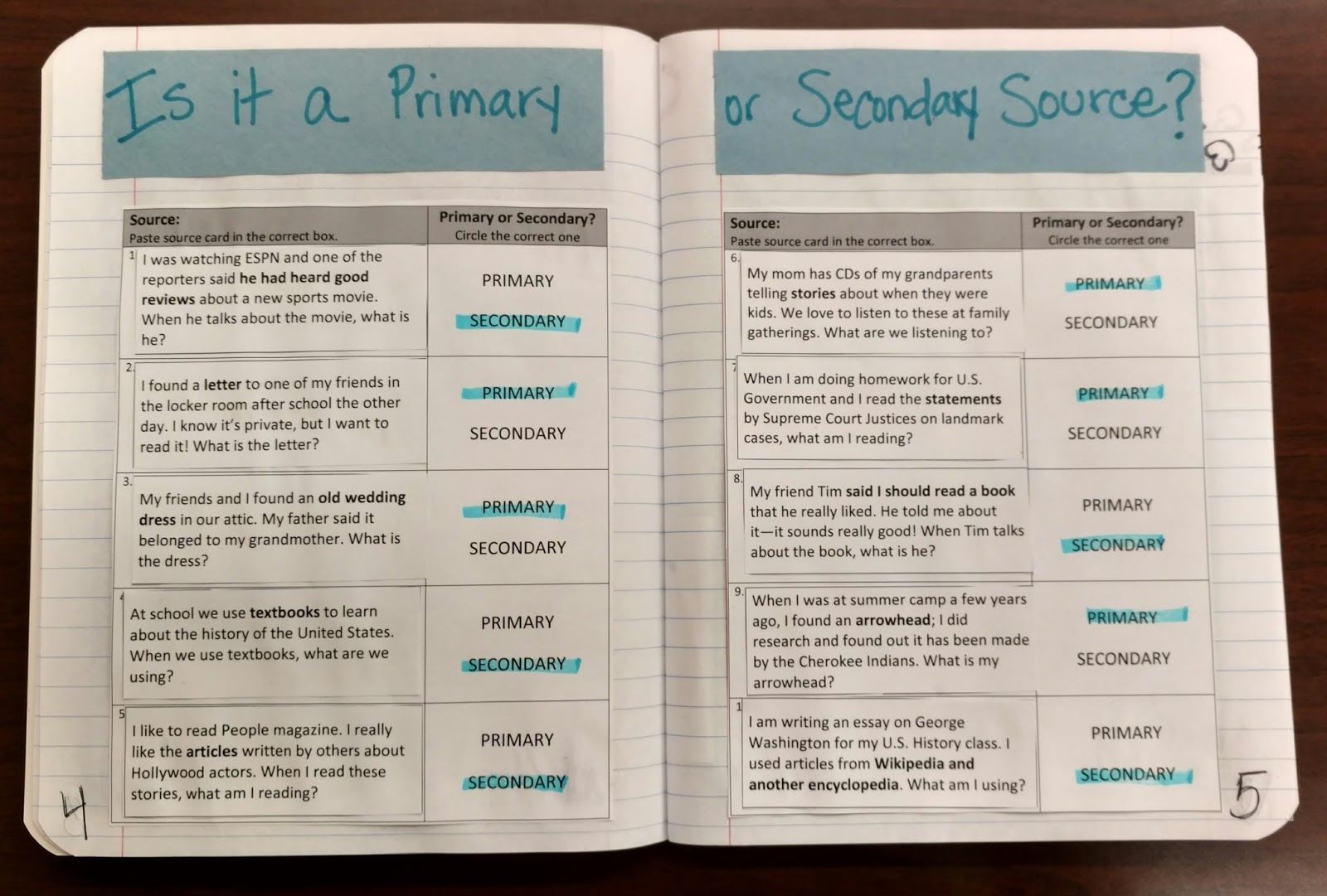Primary And Secondary Sources For Kids