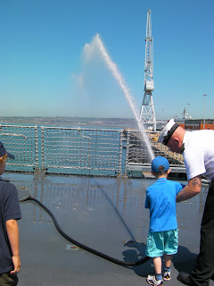 high pressure fire hose hms gloucester in port