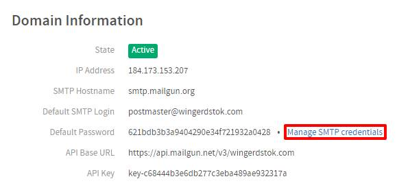 Manage SMTP Mailgun