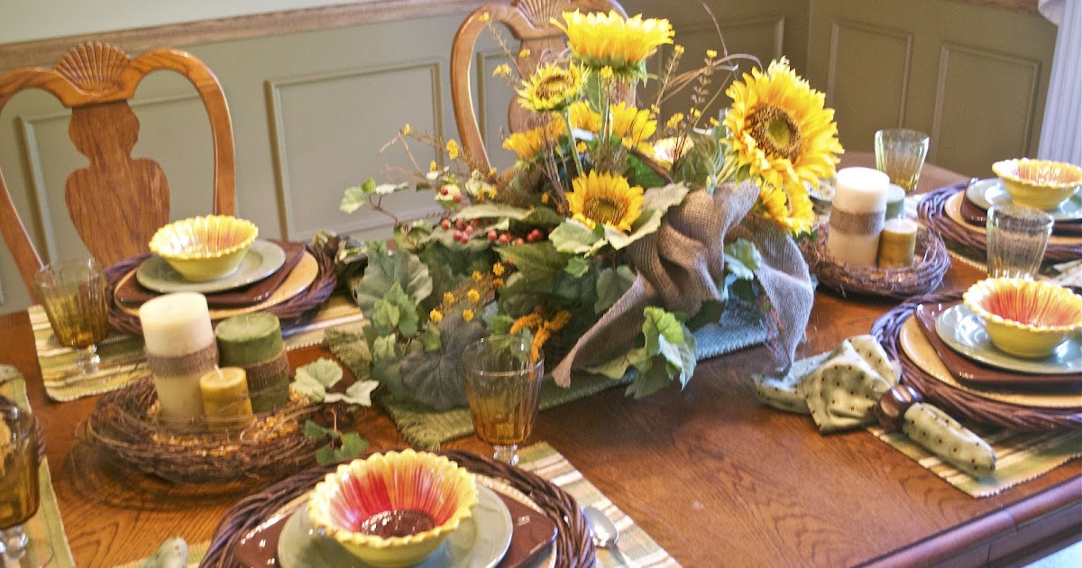 Corner Of Plaid And Paisley Sunflower Tablescape