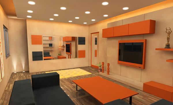 Ruang tamu cantik bertema orange di bagian ornamennya