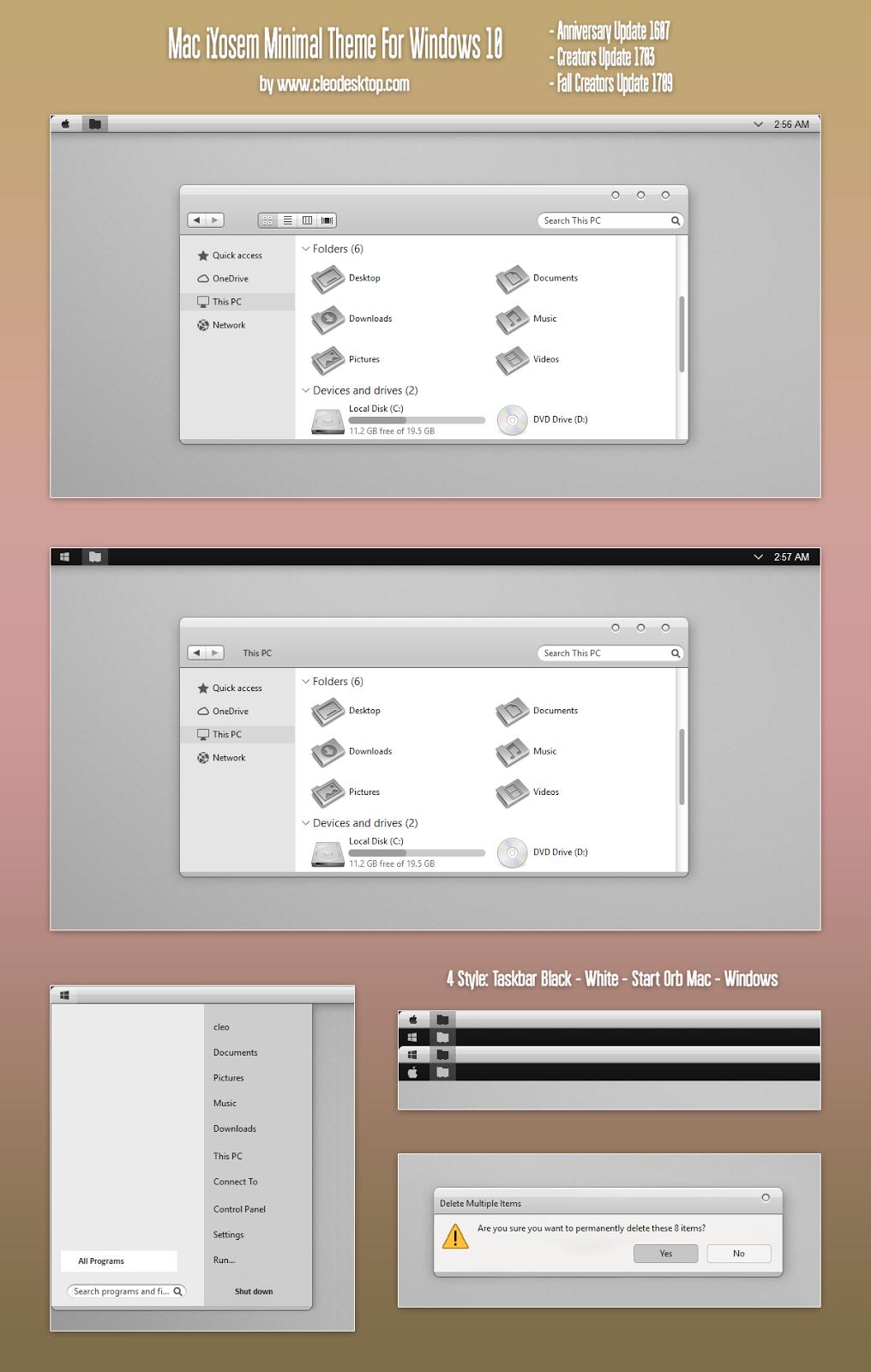 Mac iYosem Minimal Theme Windows10 Fall Creators Update 1709