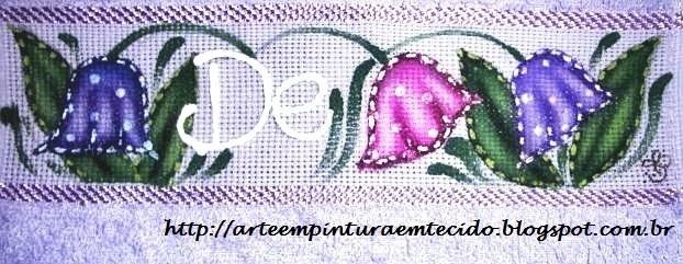 pintura em tecido toalha de mão flores