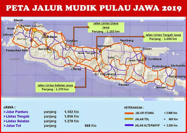 image: Peta Jalur Mudik Jawa 2019