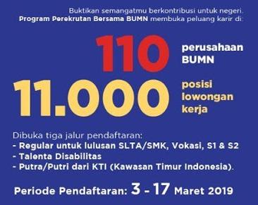Cara Daftar Rekrutmen Bersama BUMN 2019 untuk 11.000 Posisi Lowongan Kerja