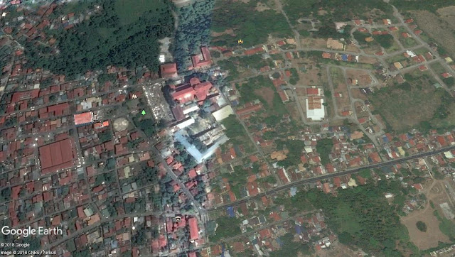 Poblacion Taal, Batangas seen on Google Earth, with Church right in the middle.  Image source:  Google Earth.