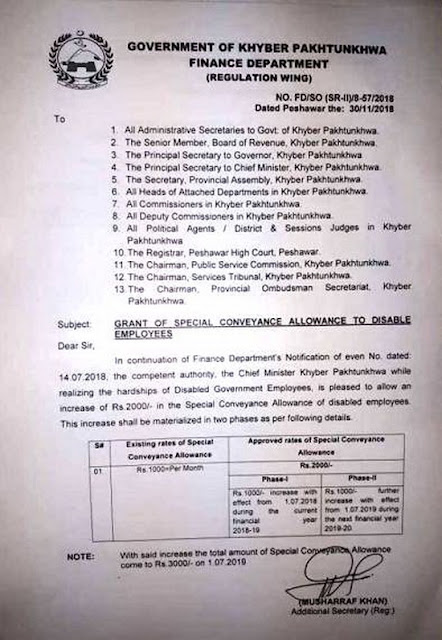 Grant of Special Conveyance Allowance to Disable Employees KPK 2018