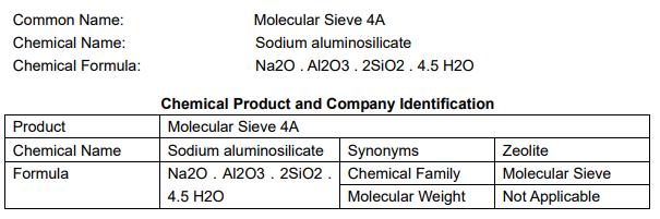 Thành phần hóa học Porocel Molecular Sieve 4A