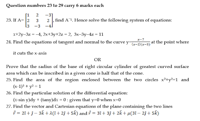 SAMPLE QUESTION PAPER  MATHEMATICS CLASS 12
