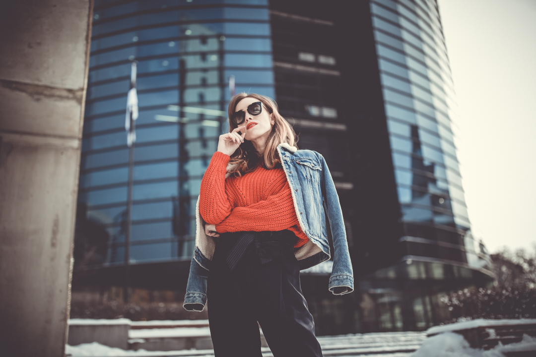red jumper denim jacket cool street photography
