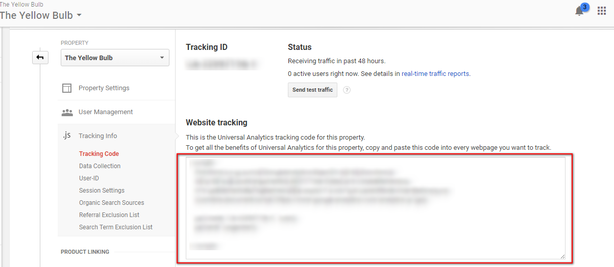 Copy Website Tracking code