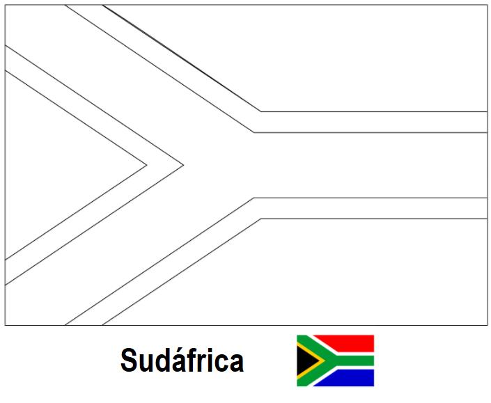 La cartografía: Bandera de Sudáfrica para colorear