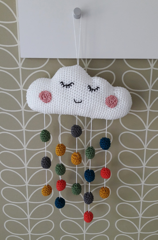 Crochet baby mobile, made by Happy in Red