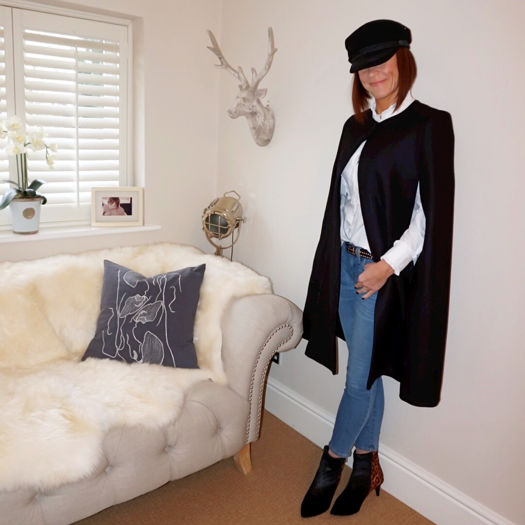 my midlife fashion, zara wool tailored cape, h and m baker boy cap, somerset by alice temperley pleated bib blouse, j crew skinny jeans, marks and spencer stiletto heel ankle boots, the kooples studded leather belt