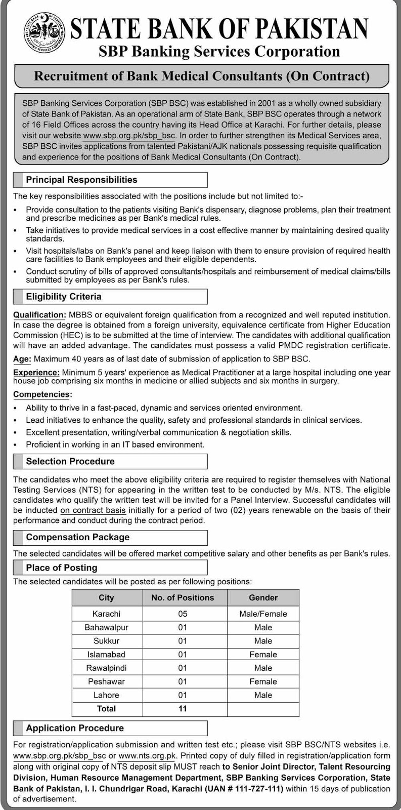Jobs State Bank of Pakistan SBP 2019