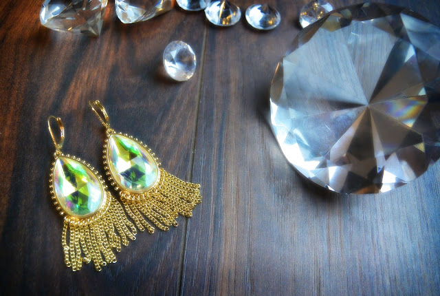 gold crystal bling chandelier earrings and swarovski crystal diamonds