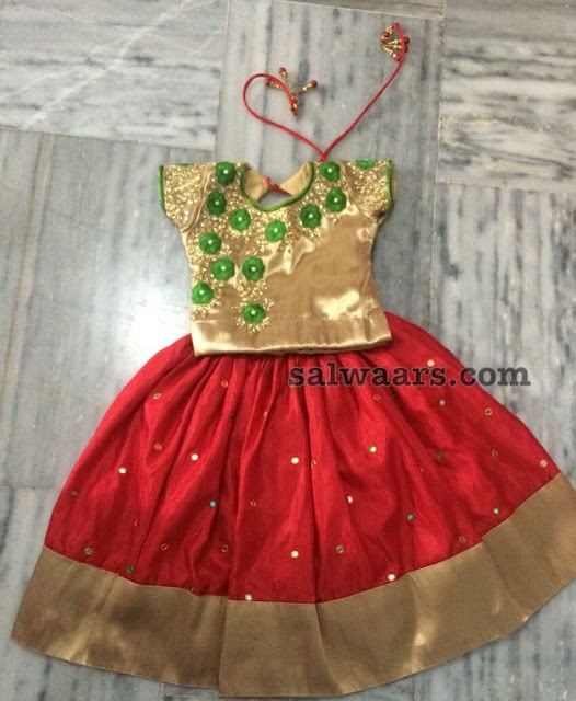 Tomato Red and Gold Mirror Lehenga