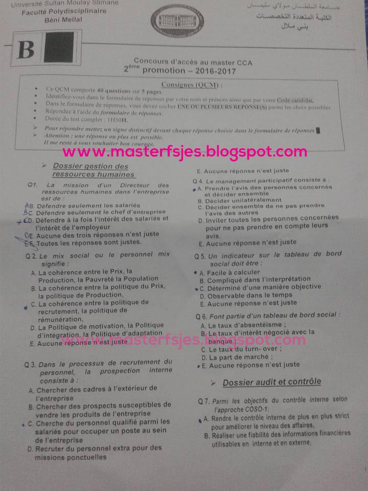 Master Comptabilité Contrôle Audit (CCA) fp-beni mellal