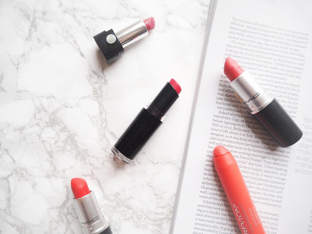 lipsticks for summer, bold summer lipsticks matte, mac, lady danger, tropic tonic, wetnwild coral-ine, marc jacobs je t'aime, revlon audacious, review, swatches