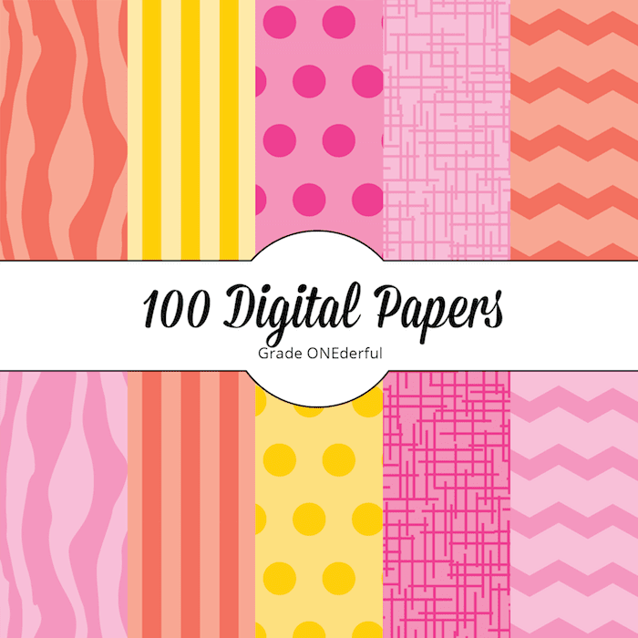 Brand new set of digital papers. A HUGE set of 100 pretty papers in pinks, yellow and orange. They come in two sizes (letter and 12 by 12 inch). This is a fabulous value for only $3.