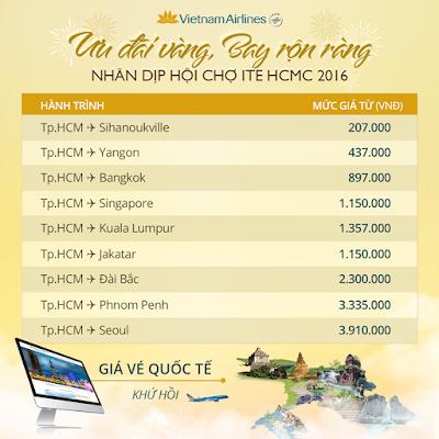 giá vé máy bay Vietnam Airlines ưu đãi vàng chặng quốc tế