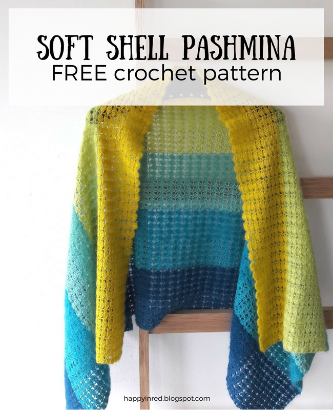 Soft Shell Pashmina FREE crochet pattern by Happy in Red