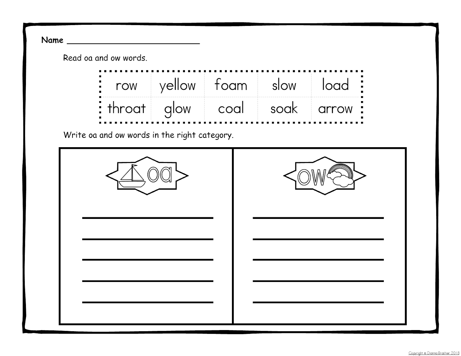 Teachers R Us Oa Ow Story Printable Story Wall Signs
