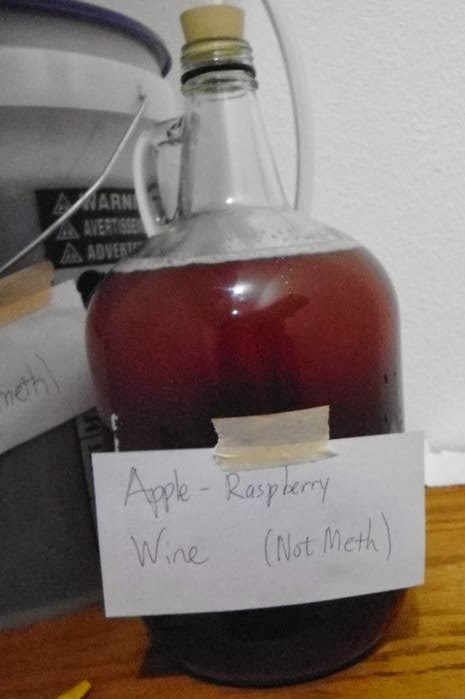 Apple Raspberry wine fermenting