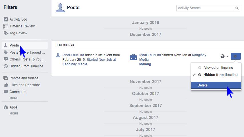 Mudah Menghapus Semua Status Facebook Terbaru Dengan Aman Kangibay Net