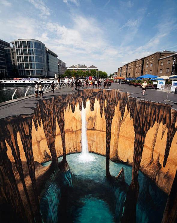 Yer altı sularını, sarkıt ve dikitleri ve küçük bir şelaleyi gösteren kaldırım sanatı resmi