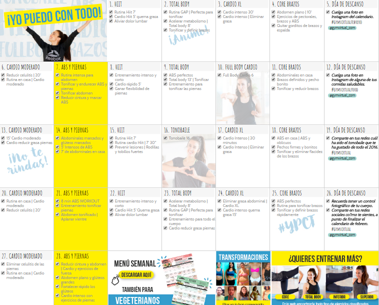 Calendario Septiembre Gymvirtual.Gym Virtual Febrero Experiencia Primer Calendario Mensual