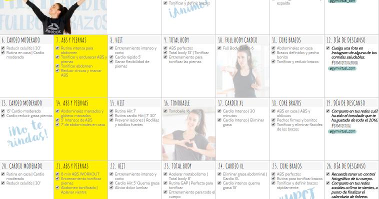 Gymvirtual calendario para bajar de peso