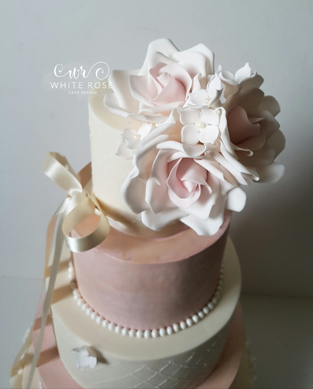White Rose Cake Design: Ballet Inspired Five Tier Wedding Cake with ...