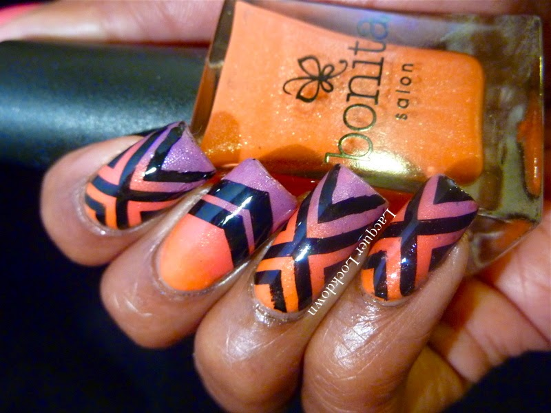 Lacquer Lockdown - Bonita Orange You Happy, Bonica Team Pink, Bonita Royal Highness, Rica Blackout stamping polish, Topatopa, TP02, nail art, gradient nails, diy nail art, cute nail art ideas, summer nail art, summer nails, gradient naiils, chevrons, geometric nail art,
